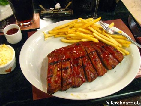 Costillas de cerdo BBQ.
