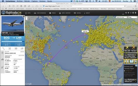 Y acá una de una hora de aterrizar ya en espacio aéreo británico.