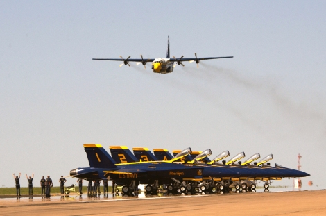 """030510-N-4534A-001 Topeka, Kan. (May 10, 2003) - Maj. Len Anderson begins the """"High Performance Climb"""" on takeoff, experiencing more than five times the pull of gravity. The Blue Angels perform more than 70 shows at 34 different locations throughout the country each year. U.S. Navy photo by Photographer's Mate 1st Class Casey Akins. (RELEASED)"""